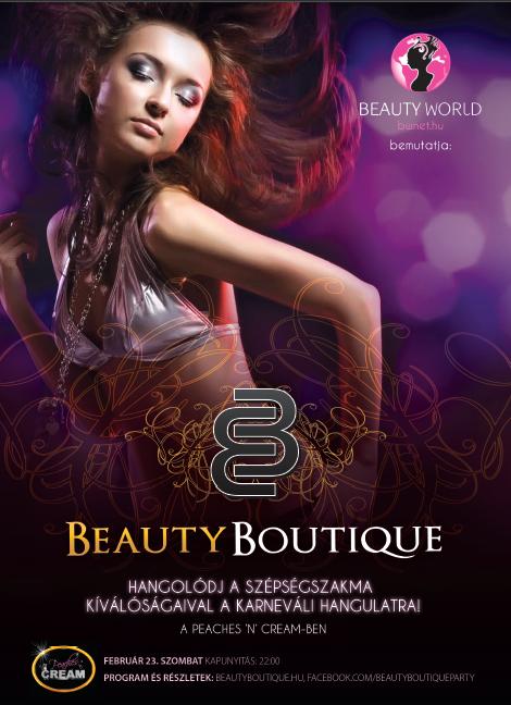 <p>Party a szépség és divat jegyében! Mindazoknak, akik a szépségszakma elkötelezettjei!</p><br /> <p>Egy kíváló kezdeményezés, egy rendkívüli este...ez a Beauty Boutique Party! Ott a helyed február 23-án!</p>