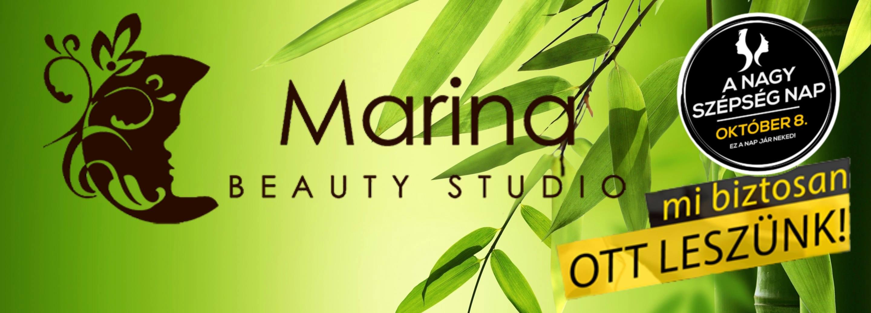 A 13. kerületi Marina Beauty Studioban is: A Nagy Szépség Nap, október 8-án.<br /> Kozmetika, fodrászat, kéz-és lábápolás, masszázs és stílustanácsadás 20% kedvezménnyel.
