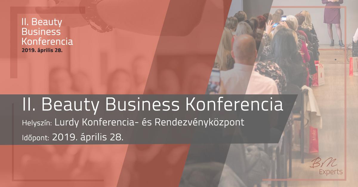 Kifejezetten a szépségipar számára megrendezett II. Beauty Business Konferencia a Beauty Marketing Experts szervezésében. <br /> Magyarországon egyedülálló módon gyűlnek össze a magyar szépségipar szereplői, hogy egy újabb lépést tegyenek a siker felé! Gyere és előzd meg a nyugati trendeket!
